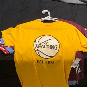Gold Spalding Basketball Short Sleeve Shirt